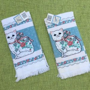 Vintage 90s cat hand towels